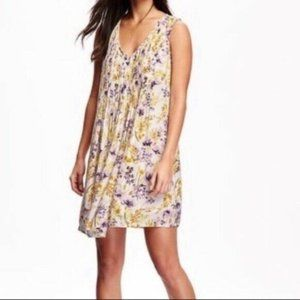 Old Navy Cream and Yellow Floral Print Swing Dress